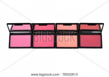 Pink blush palettes isolated on white