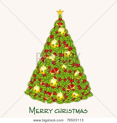 Beautiful X-mas tree decorated by mistletoe and X-mas Ball for Merry Christmas celebrations on beige background.
