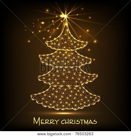 Beautiful golden lights decorated X-mas tree on stars decorated brown background for Merry Christmas celebrations.