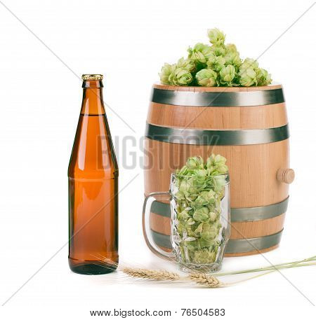 Beer with beer glass and hop