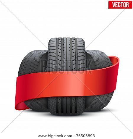 Realistic wheels and tire concept with ribbon. Vector Illustration