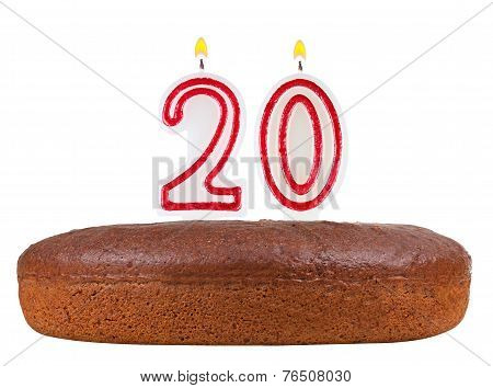 Birthday Cake With Candles Number 20 Isolated