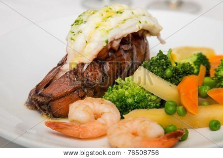 Lobster Tail With Shrimp And Vegetables