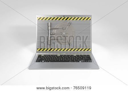 Laptop with a safe lock.