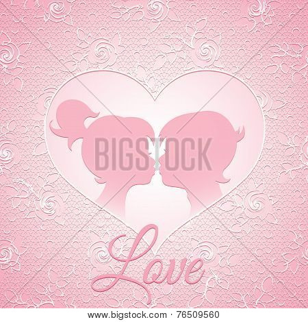 Delicate pink love card