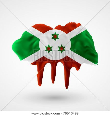 Flag of Burundi painted colors