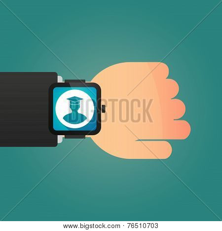 Hand Wearing A Smart Watch Displaying A Student