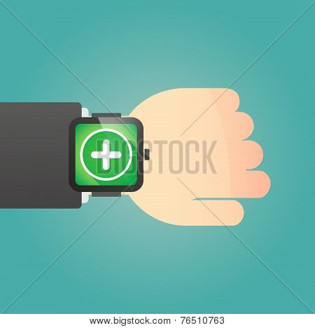 Hand Wearing A Smart Watch Displaying A Sum Sign