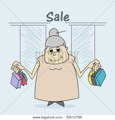 Cartoon of a fat woman holding shopping bags and stylish text of Sale.