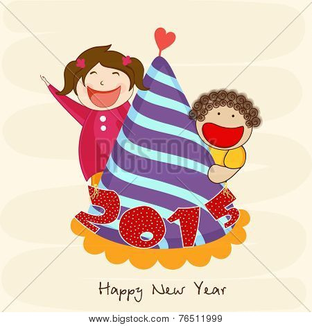 Cute little kids holding cap decorated with stylish text for Happy New Year celebrations.