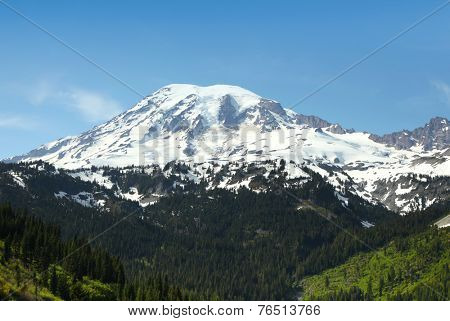 Snow covered Mount Rainier in Washington state in Spring time