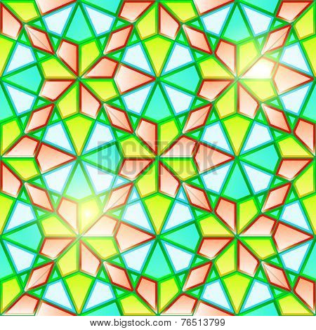 Bright seamless geometrical stained glass