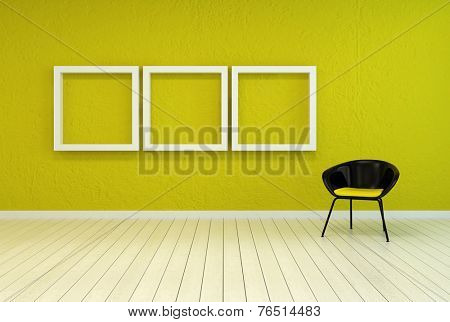 3D Rendering of Colorful modern art gallery interior with three empty white wooden picture frames on a vibrant green-yellow wall with a tub chair alongside over a white painted wooden floor