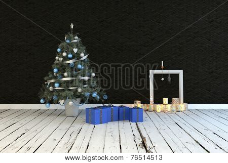 3D Rendering of Simple rustic Christmas living room interior decor with a decorated Christmas tree with blue presents alongside an arrangement of burning candles on grunge white painted floorboards