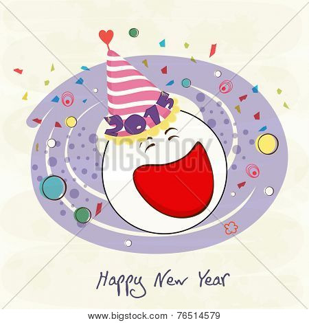 Stylish greeting card design with snow man face in birthday cap decorated with text 2015 on abstract background for Happy New Year celebrations