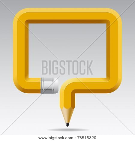Isolated image banner in the shape of a curved pencil. Education Template