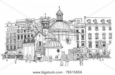 The town square in Krakow. Poland. Black & white vector sketch