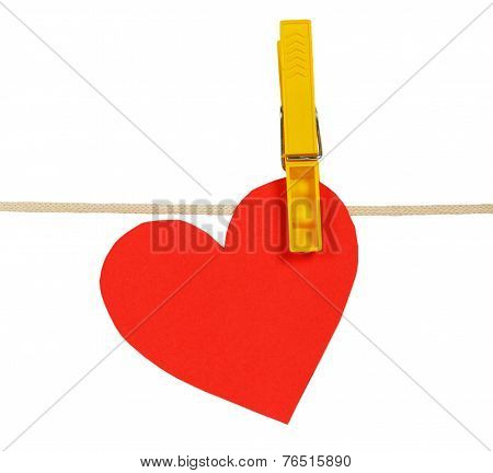 Red Paper Hearts On Rope With Clothespin
