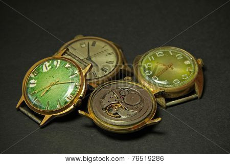 Old Clockwork And Old Mechanical Watches