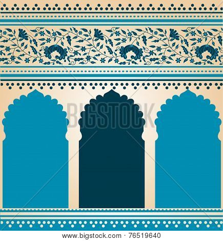 Blue saree temple background