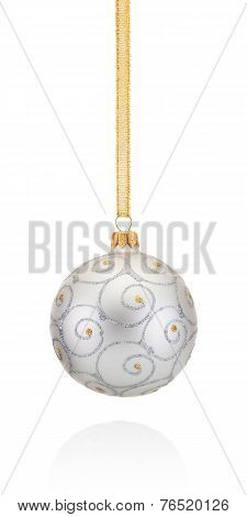 Silvery Decorations Christmas Ball Hanging On Golden Braid Isolated On White Background