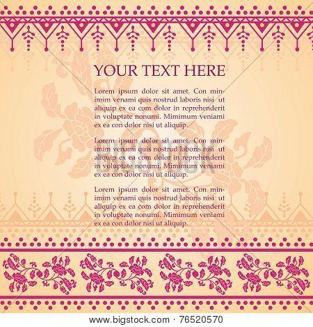 Indian pink floral henna banner