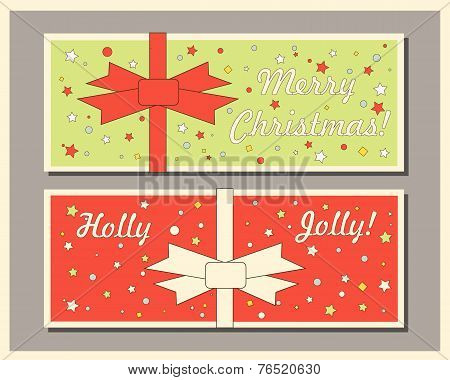 Vintage Christmas holiday greeting cards set with bows. Happy holidays set of tags and bookmarks. Ve