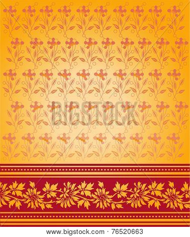 Traditional Indian red and gold saree design