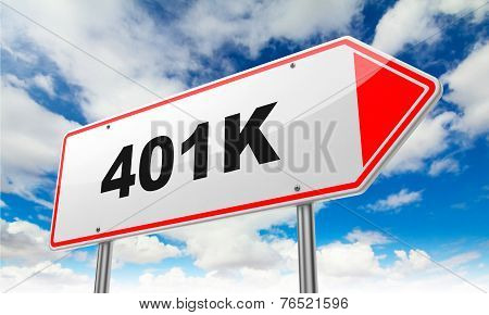 Inscription 401K on Red Road Sign