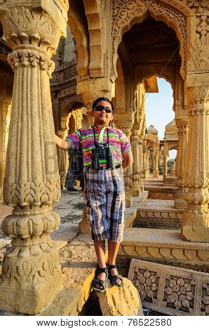Boy Tourist In Front Of Cenotaphs Of Bada Bagh, King's Memorials