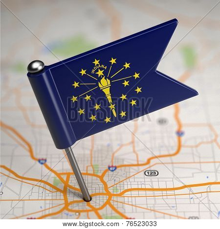 Indiana Small Flag on a Map Background