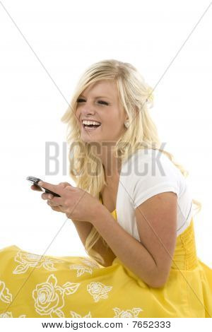 Girl In Yellow Dress Texting Laughing