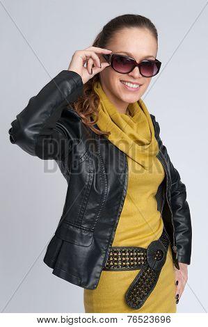 Beautiful Fashionable Woman Wearing Sunglasses