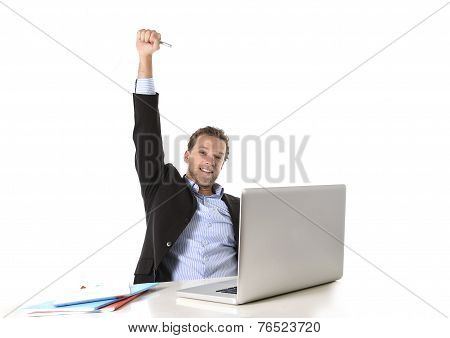 Young Attractive Businessman Happy And Hectic At Office Work Sitting At Computer Desk Satisfied Cele