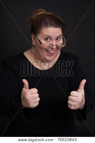 Smiling Woman Showing Hid Thumbs Up
