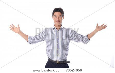 Closeup portrait of wild, goofy, crazy, funny, shocked surprised stunned young man face with hands in air