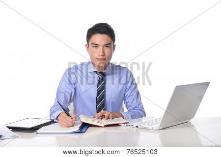 Portrait of young man working with his personal computer