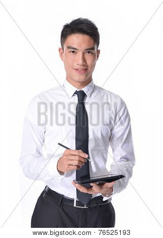 young business man using tablet â??white background