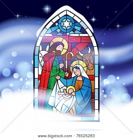 Stained glass window depicting Christmas scene against a might snow storm background. Christmas greeting card. Vector illustration