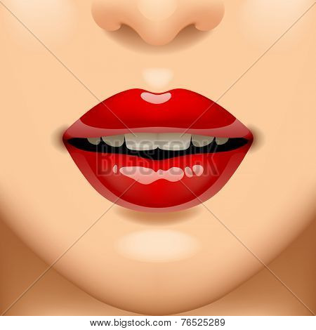 Female sexy red lips on the face. Vivid open mouth of woman. Vector illustration