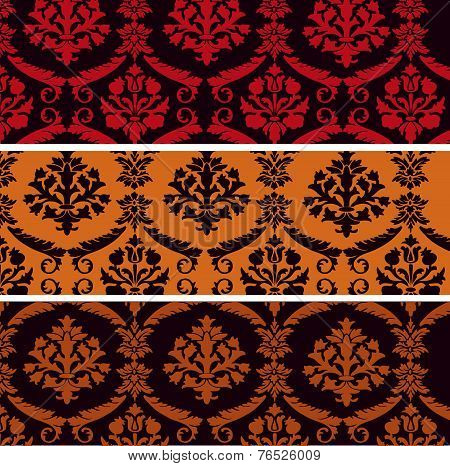Set of horizontal floral damask banners