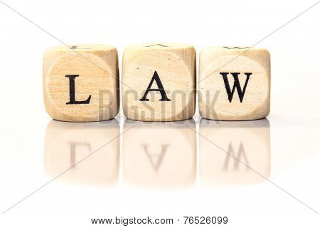 Law Spelled Word, Dice Letters With Reflection