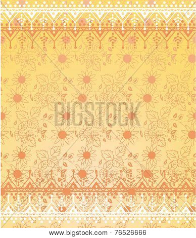 Yellow Floral Oriental Background