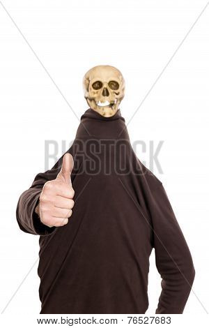 Hidden Man With Witty Skull On His Head, Thumbs Up