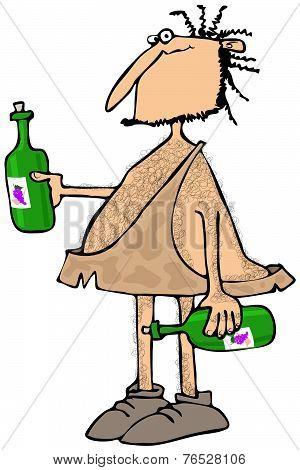Caveman wine connoisseur