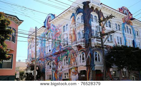 mexican walls of house of women, San Francisco, California, USA