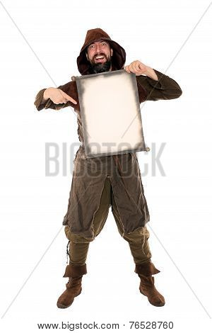 Funny Medieval Man Is Holding A Old Aged Scroll