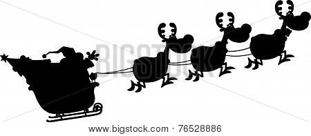Black Silhouettes Of Santa Claus In Flight With His Reindeer And Sleigh