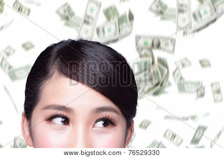Business Woman With Money Rain