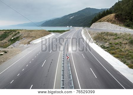 The Blacksea highway by the seashore in Northern Turkey